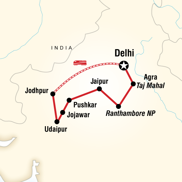 Itinerary map of Rajasthan Adventure