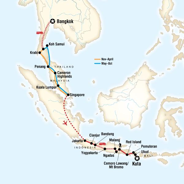 Map of Bangkok to Bali on a Shoestring