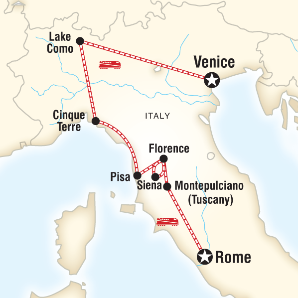 Itinerary map of Ultimate Italy