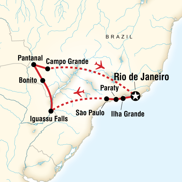 Itinerary map of Wonders Of Brazil