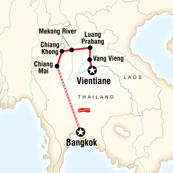 Itinerary map of Laos & Thailand on a Shoestring
