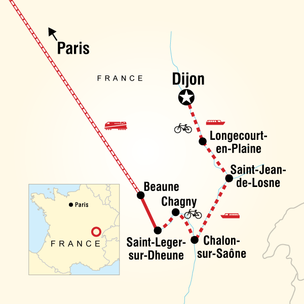 Itinerary map of Quintessential Burgundy