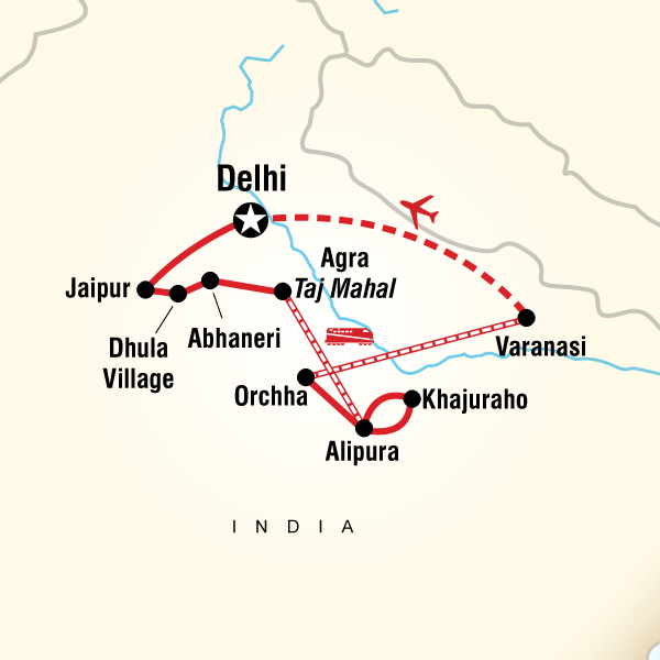 Itinerary map of Essential India