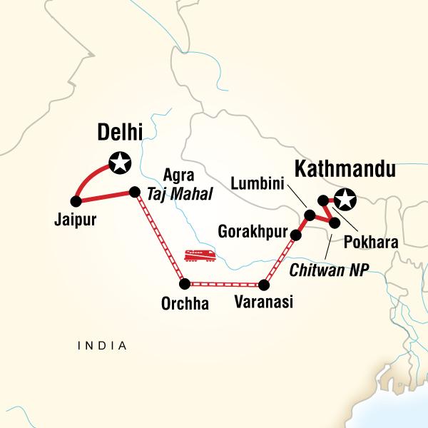 Map of Delhi to Kathmandu Adventure