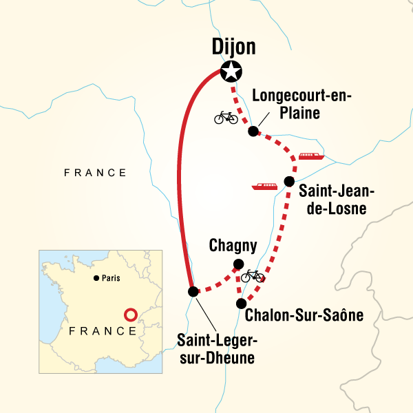Itinerary map of Burgundy River Cruise Adventure - Southbound