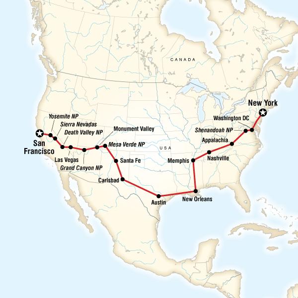 Map Of Las Vegas Grand Canyon Moon California Road Trip San