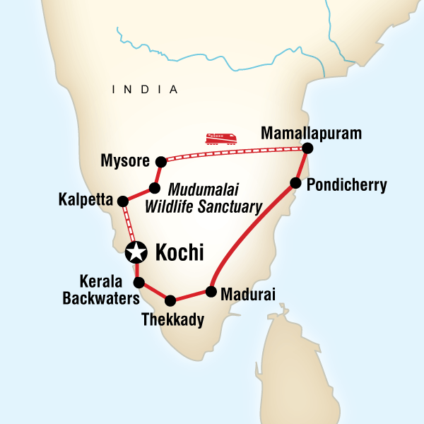 Itinerary map of Best Of Southern India