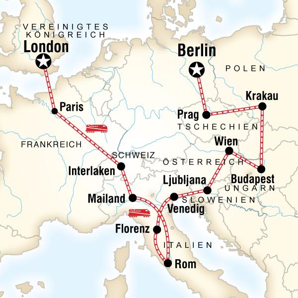 Von London nach Berlin – Alpen & Altstädte