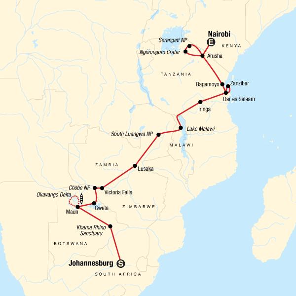 Von Johannesburg nach Nairobi Nordwärts – Safarifahrt & Serengeti