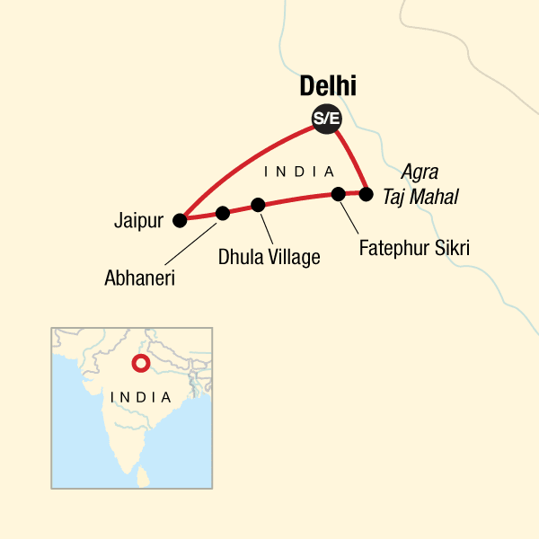 TailorMade India: Delhi, Rajasthan, and Jaipur Map