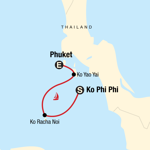 Sailing Thailand - Ko Phi Phi to Phuket Map