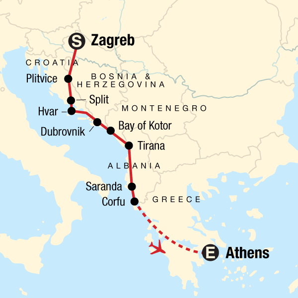 Zagreb to Athens: Adriatic & Ancient Capitals