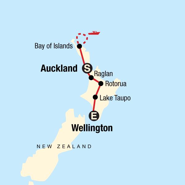 New Zealand: North Island Encompassed Map