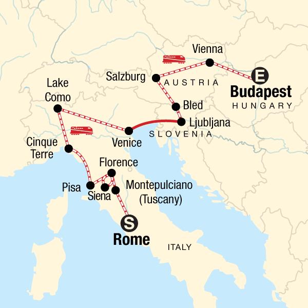 Entdeckungsreise von Rom nach Budapest
