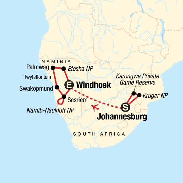 discover kruger \u0026 namibia johannesburg windhoek statravel hujourneys dsnng map 2019 en 3f8403a