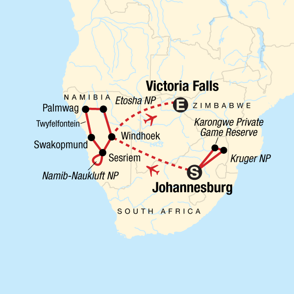 Krüger-Nationalpark, Victoria Falls & Namibia