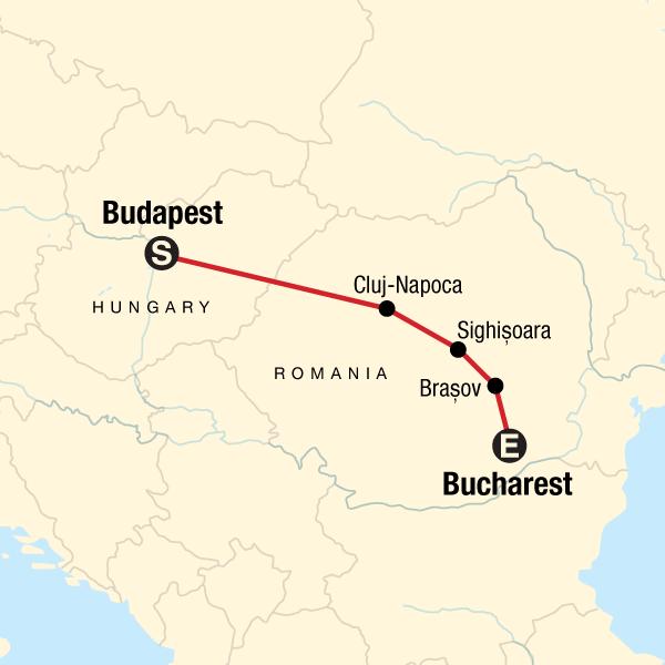 Hungary & Romania Highlights Map