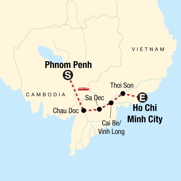 Mekong River Adventure – Phnom Penh to Ho Chi Minh City Map