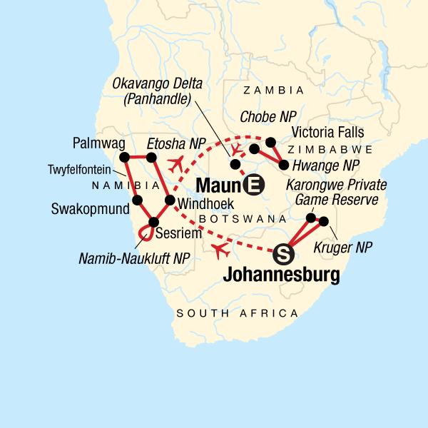Der Süden Afrikas: Wüste, Wildtiere & Wasserfälle