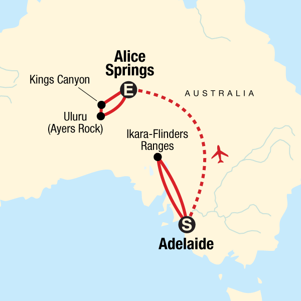 Outback to the Red Centre: Adelaide to Alice Springs Map