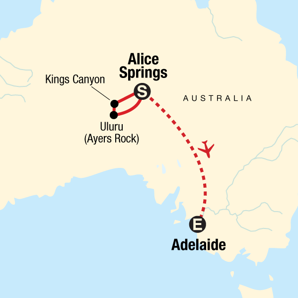 The Red Centre to Adelaide: Uluru & the Outback