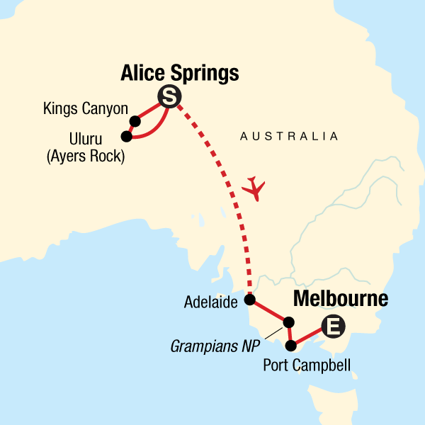 The Red Centre to Melbourne: Camping & Canyons
