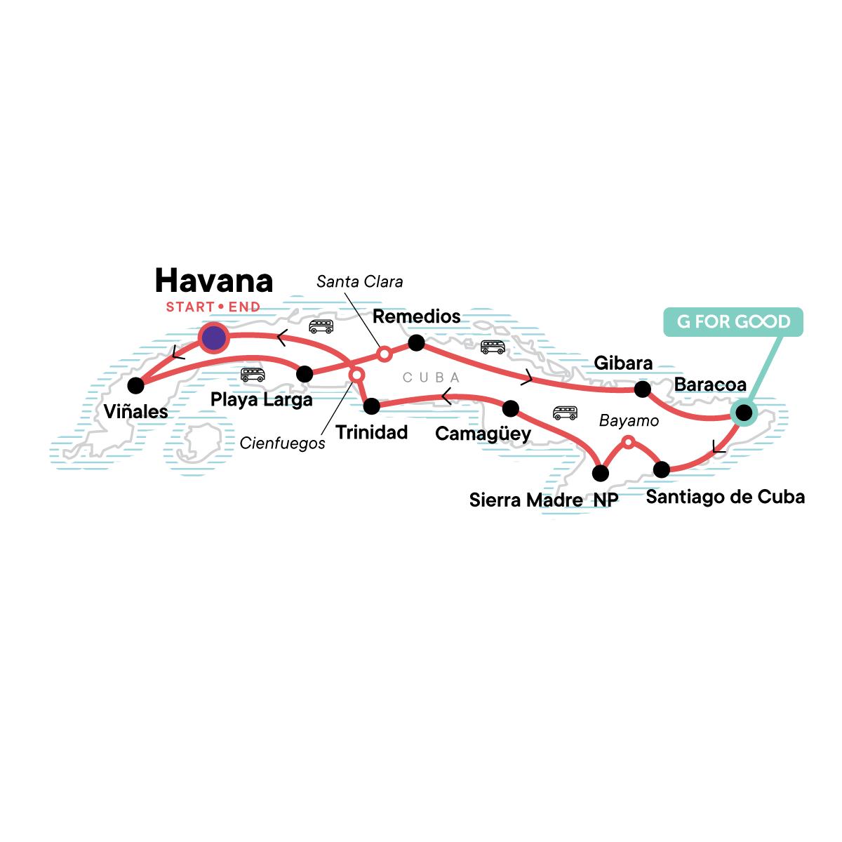 Cuba: Salsa & Snorkelling Map