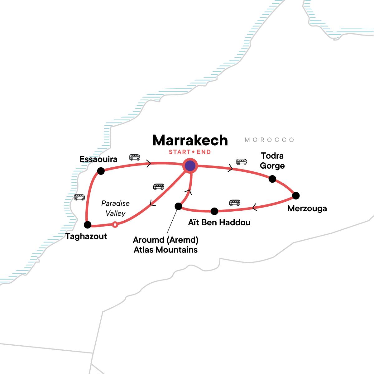 Morocco: Deserts & Beaches Map