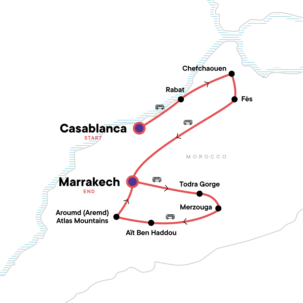 Morocco: Markets & Mountains Map
