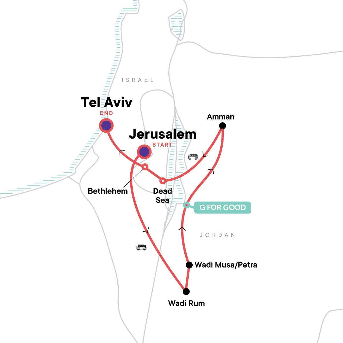 Israel & Jordan: Party Nights & Ancient Sites Map