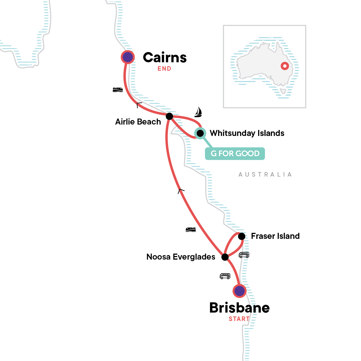 Brisbane to Cairns Experience: Sand Dunes & the Whitsundays Map