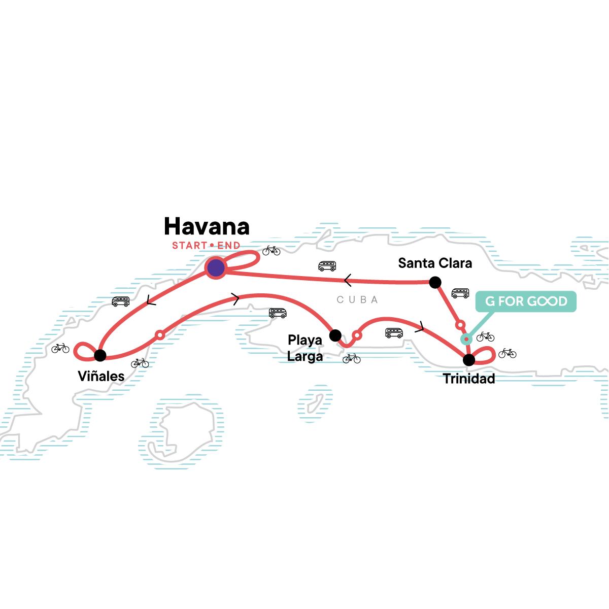Biking Cuba Map