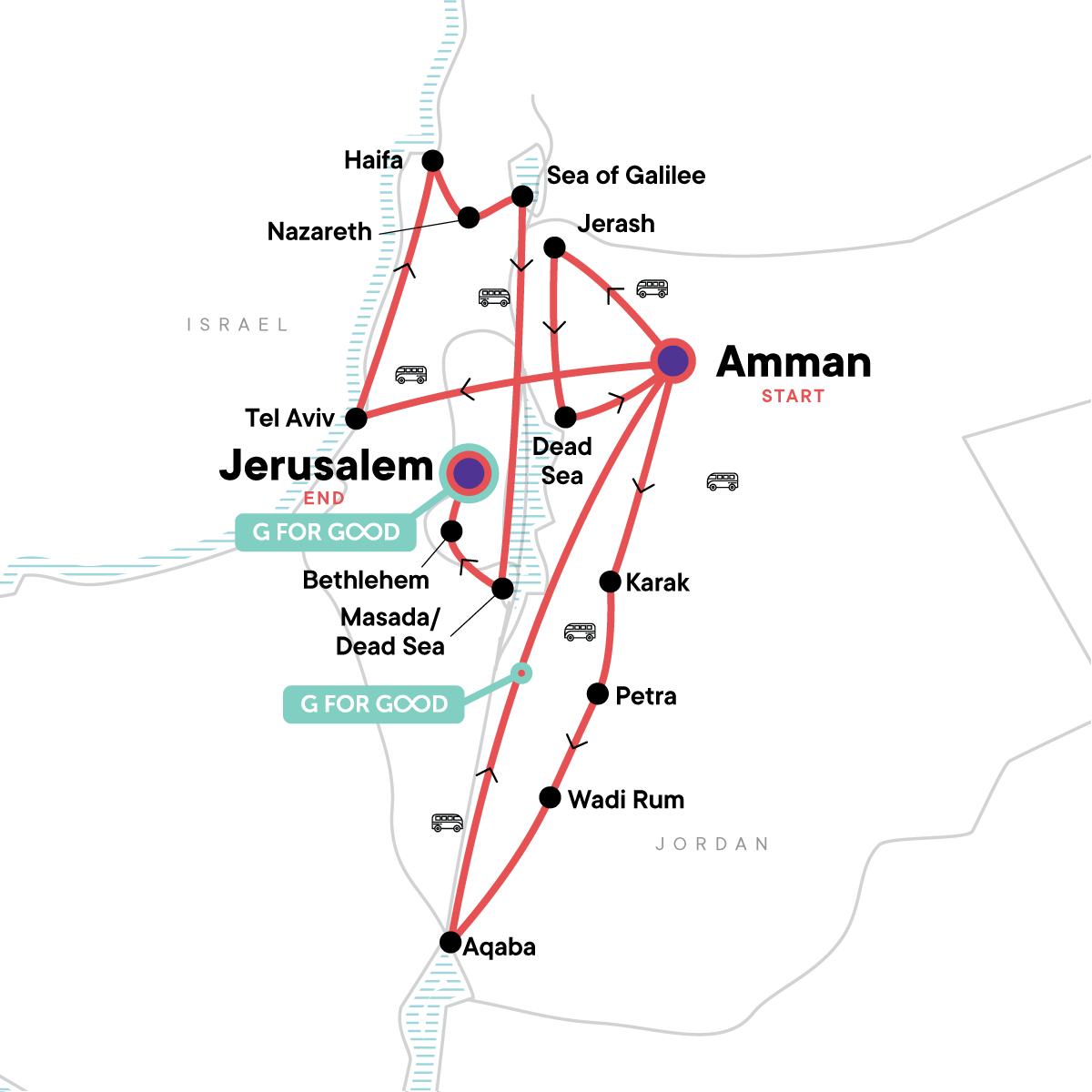 Jordan and Israel Adventure Map