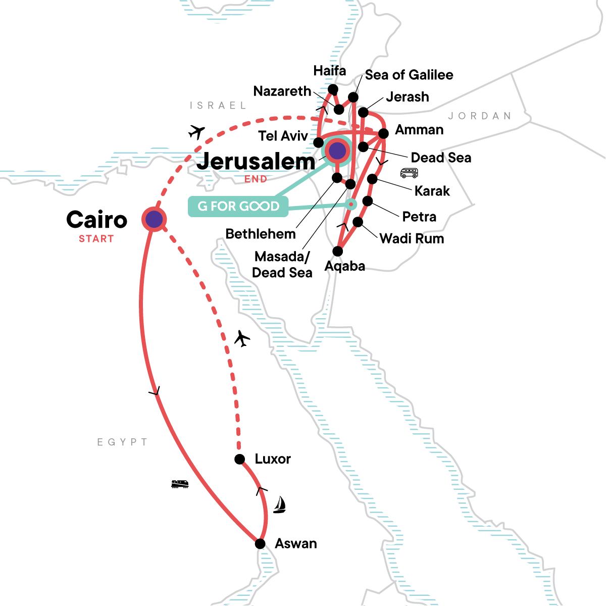 Best of Egypt, Jordan and Israel Map