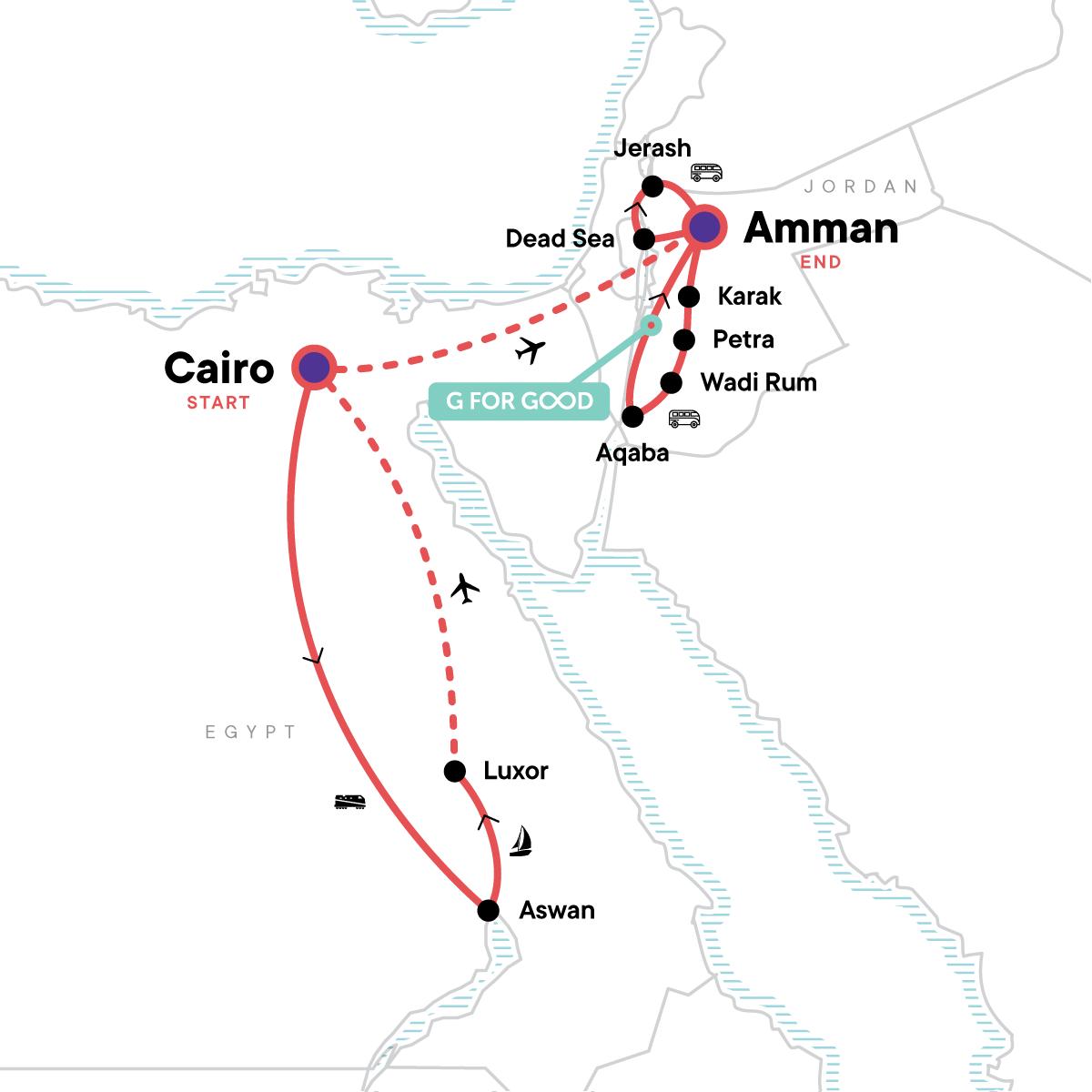 Egypt & Jordan Adventure Map