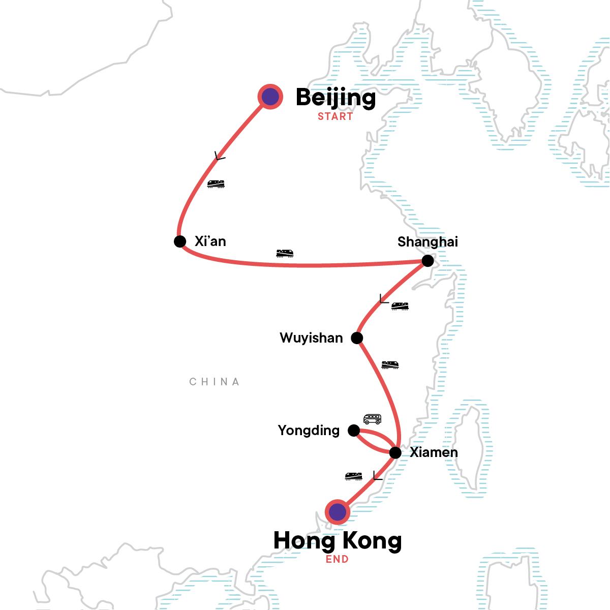 Beijing to Hong Kong: Great Wall & Warriors Map