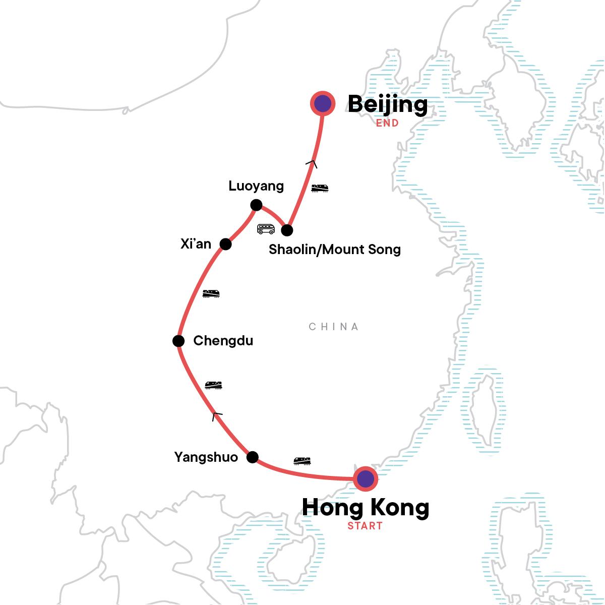 Hong Kong to Beijing: Food Stalls & Waterfalls Map