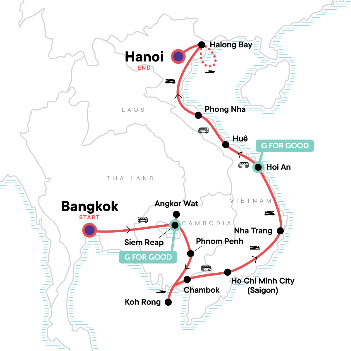Cambodia & Vietnam: Bonfires & Banh Mi Map