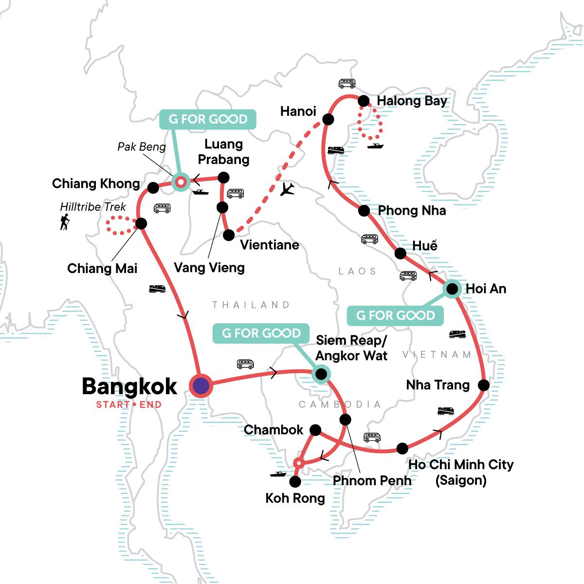 Indochina: Northern Hilltribe Trekking & Beach Vibes Map