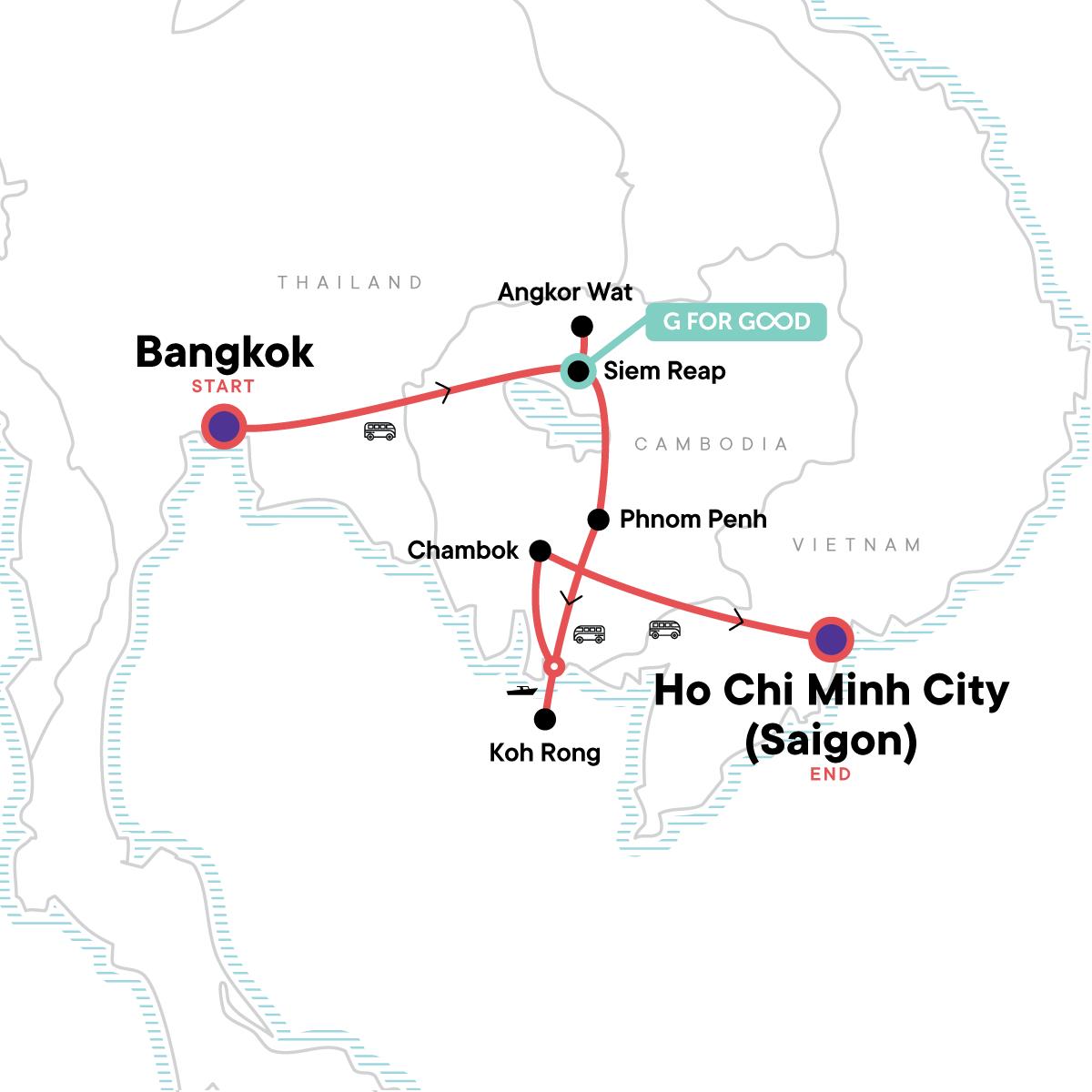 Cambodia: Ancient Ruins & Boat Rides Map