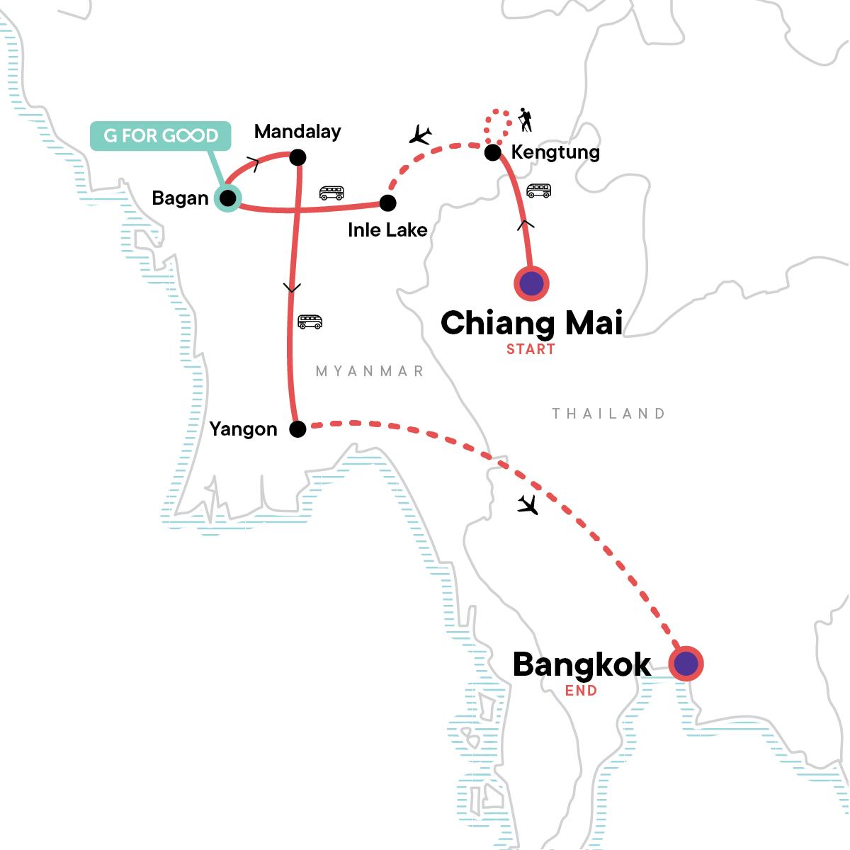 Myanmar: Hilltribes & Sunrises Map