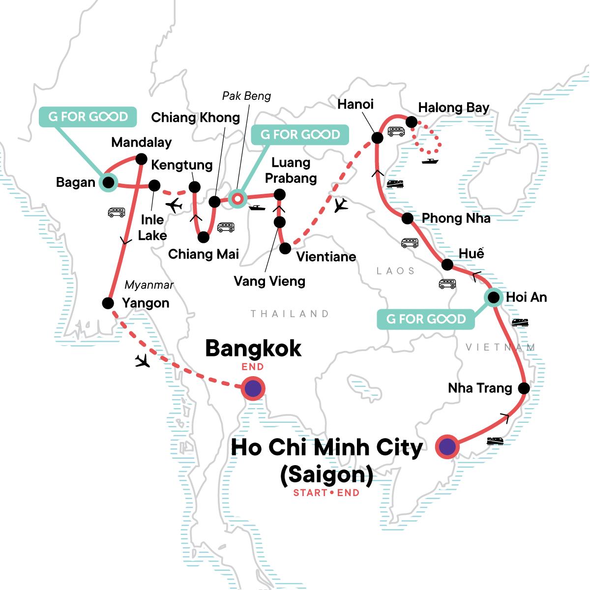 Vietnam, Laos & Myanmar: Beaches & Bliss Map