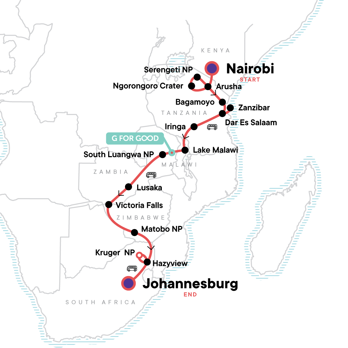 Nairobi to Joburg Overland: Craters & Camping Map