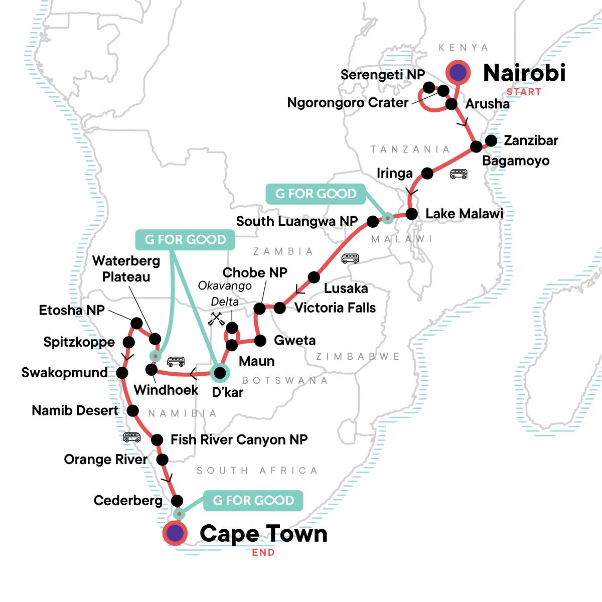Serengeti, Falls & Cape Town Overland: Sunsets & Safaris Map
