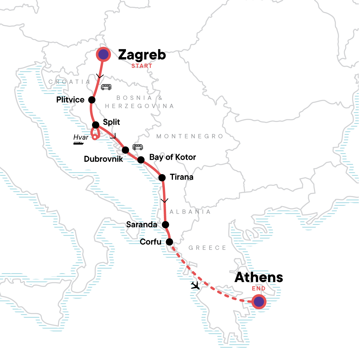 Zagreb to Athens: Adriatic & Ancient Capitals Map