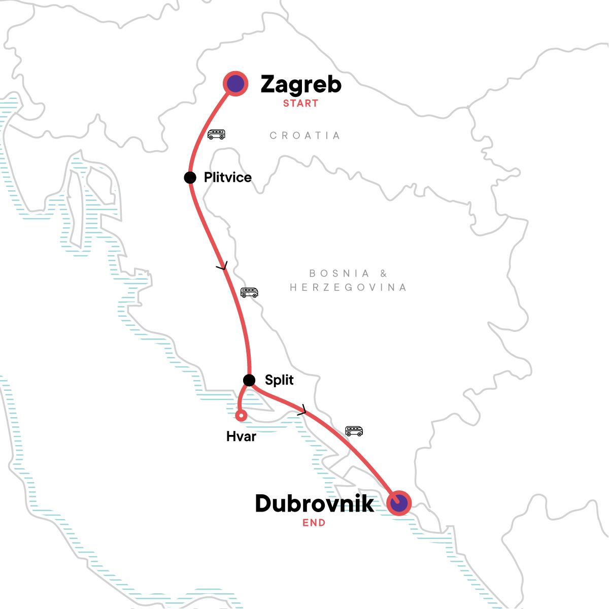 Zagreb to Dubrovnik: Parties & Plitvice Lakes Map