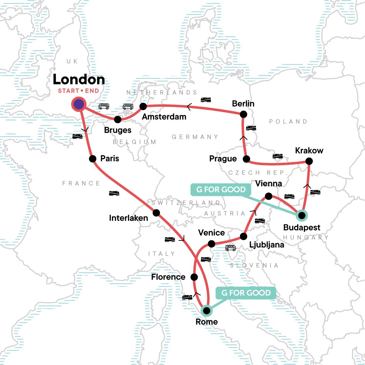 European Trail: Capitals & Cafés Map