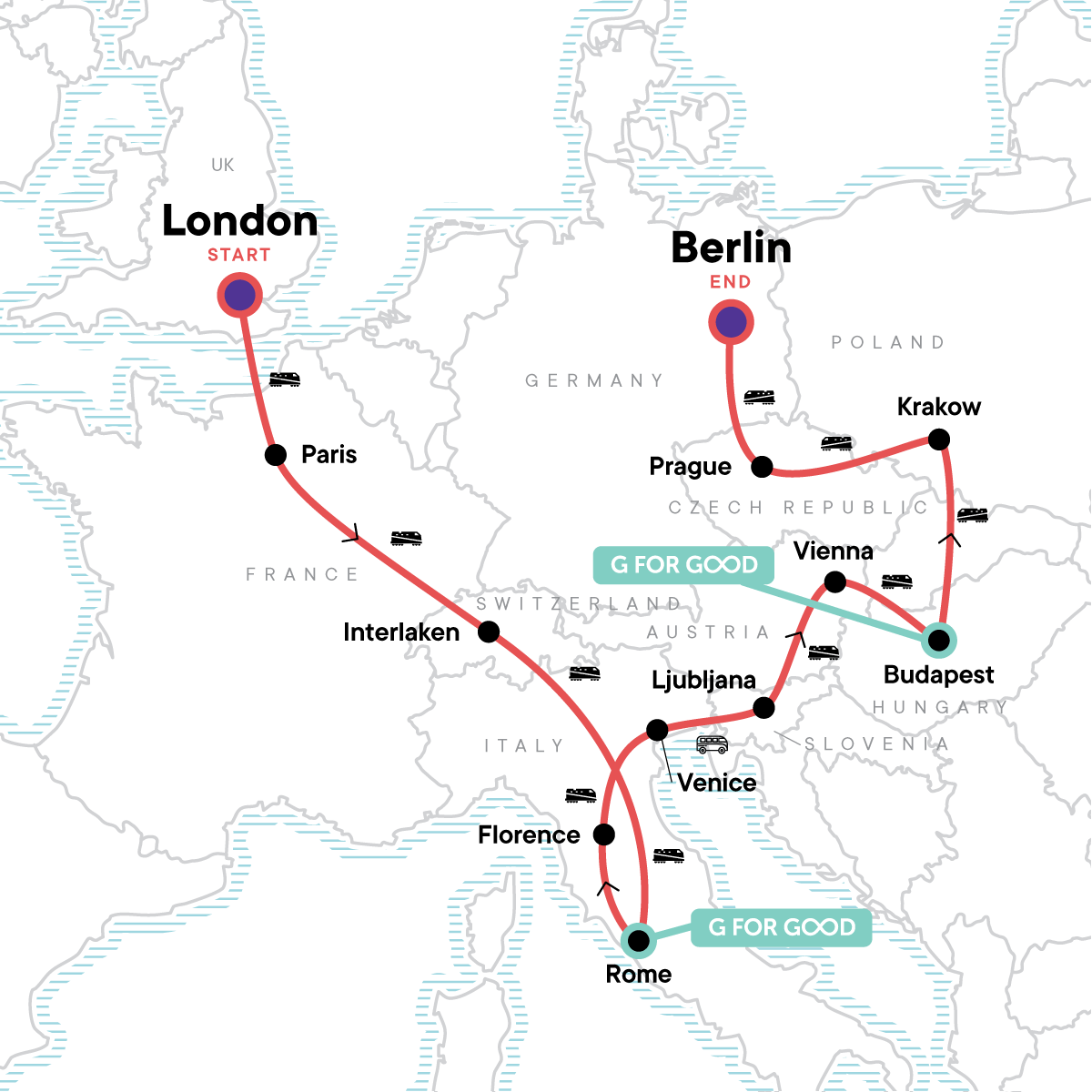 London to Berlin: Art & the Alps Map