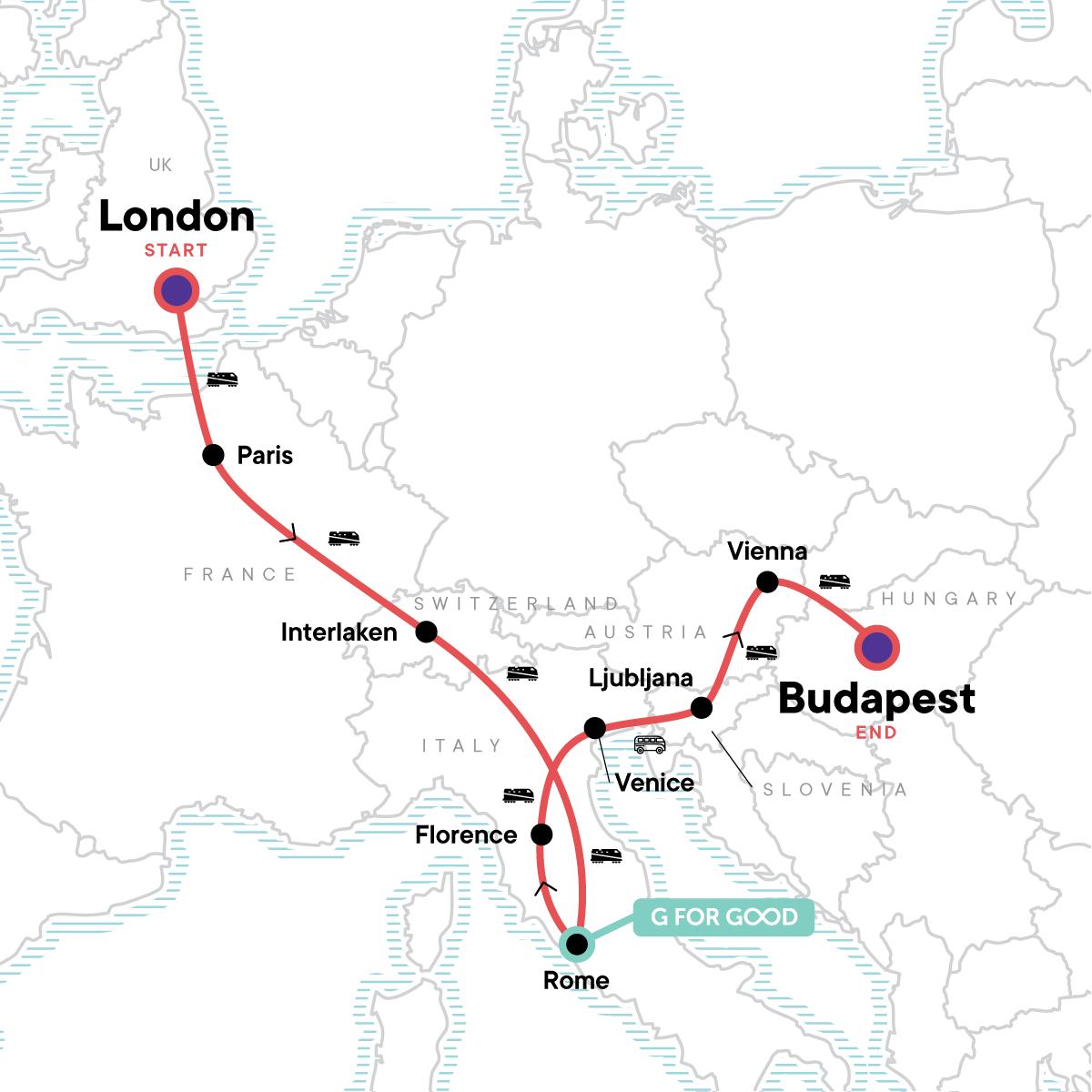 London to Budapest: Waterways, Wine & Bohemian Vibes Map