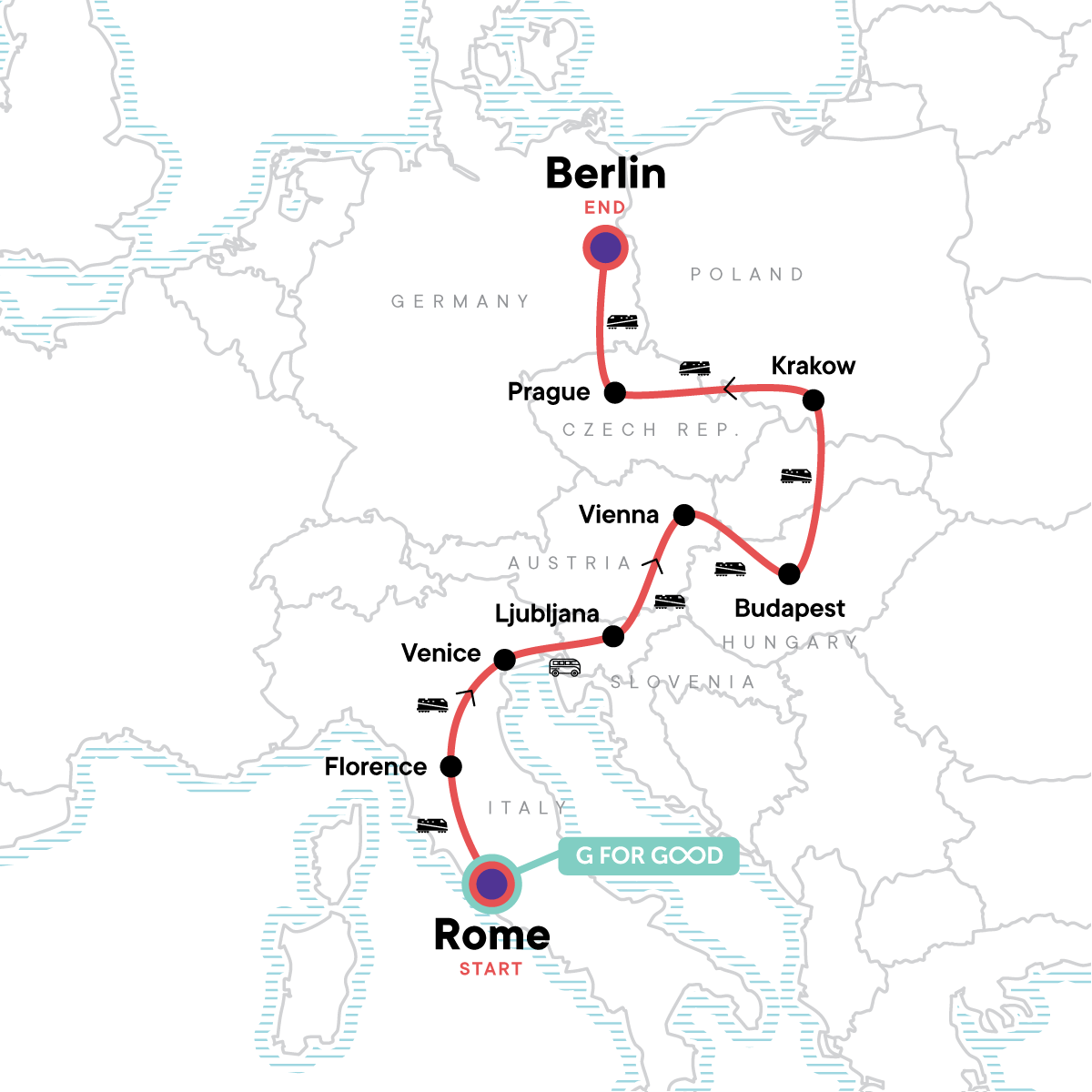 Rome to Berlin: Piazzas, Pilsners & the Past Map
